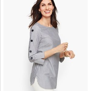 Talbots button sleeve poplin stripe shirt